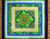 Dramatic Flower Quilted Wall Hanging, Brightly Colored Borders, Green, Orange, Yellow, Purple