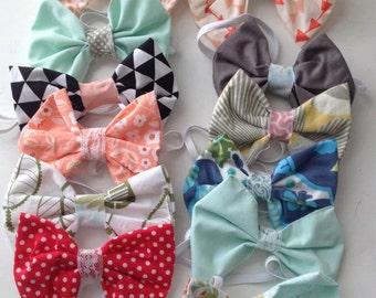 Bowtie Girls headband. Boho, cottage chic girls accessory. In stock + ready to ship