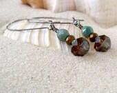 Glass Bead Earrings - Bead Jewelry - Beaded Dangle Earrings - Turquoise and Brown Earrings - Boho Earrings - Long Earrings - Drop Earrings