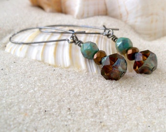Glass Bead Earrings - Bead Jewelry - Beaded Dangle Earrings - Turquoise and Brown Earrings - Boho Earrings - Long Earrings - Drop Earrings
