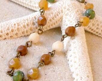 Women's Beaded Bracelet - Glass Bead Bracelet - Fall or Autumn Bracelet - Brown, Cream, and Green Bracelet - Light Weight bracelet - Brass