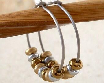 Hypoallergenic Hoop Earrings - Titanium Hoops - Gift for Wife - Beaded Jewelry - Hoop Earrings - Gold and Bronze Hoop Earrings