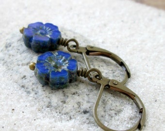 Royal Blue Flower Earrings - Beaded Earrings - Short Blue Earrings - Dangle Earrings - Hypoallergenic Earrings - Blue and Teal Series