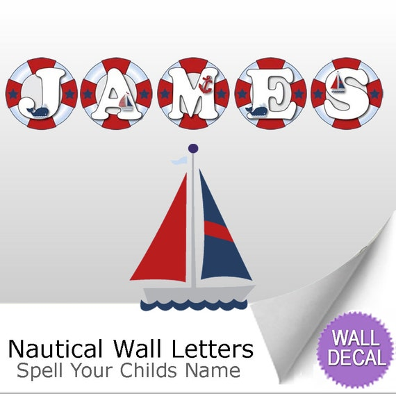 wall letters name sticker decal nautical ocean boat anchor With nautical wall letters