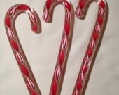 Glass Candy Cane Ornaments Set of 3