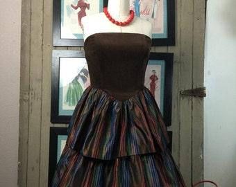 Fall sale 1980s dress prom dress strapless dress vintage dress plaid dress 80s dress brown dress