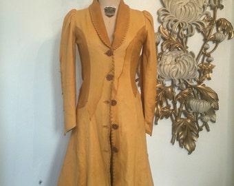 1970s coat leather coat stevie nicks coat bohemian jacket size small vintage coat patchwork coat
