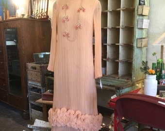 Sale 1960s cocktail dress 60s maxi dress size medium Vintage dress designer dress statement dress Teal Traina