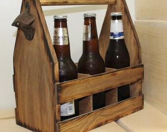 2 Rustic Wood Beer Tote  Beer Carrier  Beer Caddy Man Cave  Custom Brewery  Personalized Bottle Opener  Wooden 6 pack crate Country weddings