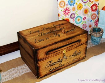 Large Wedding Card Box Wooden Rustic Keepsake Chest Every Love Story Is Beautiful Personalized Custom Wood Country Barn style weddings