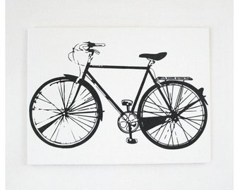 Bike Print 20x16 Bicycle Screen Print Wall Art