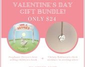 Valentines Day Gift Bundle-Not a Nugget Children's book by Stephanie Dreyer & one of my mini Recycled Sterling Not a Nugget Chick Necklaces