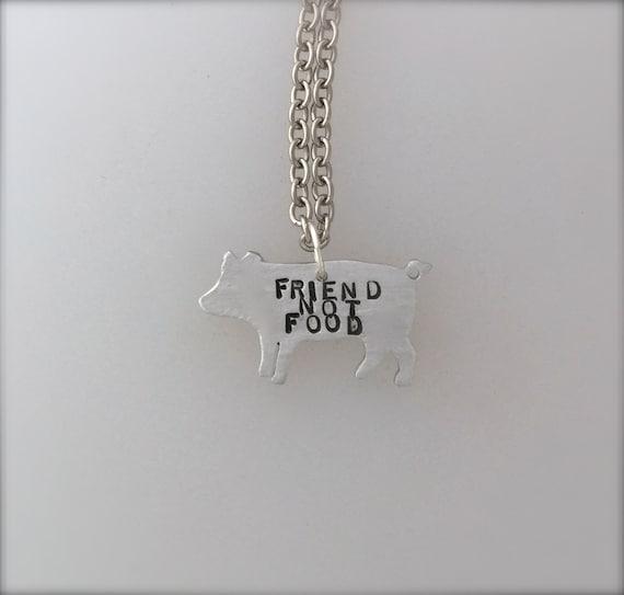 New-Mini Friend not Food Pig necklace-Vegan Necklace-Vegan Jewelry-Vegan gift-Pig Jewelry-Rescue Pig-Eco Friendly