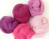 Lipstick - 5 Colours - Dyed Merino Wool Tops - 125g / 4.5oz - Wet / Needle Felting - Roving - Spinning