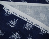 VINTAGE Laura Ashley navy and white floral