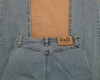 Vint. Dolce and Gabbana Jeans,Vintage D and G Jeans, Designer Jeans, High Waist,Distressed, Pocketless Jeans,High Fashion,Straight Leg,Jeans