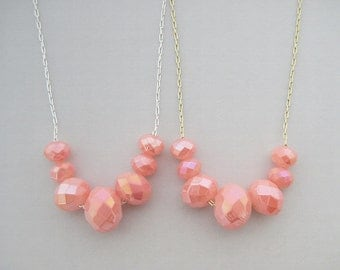 Coral Pink Necklace - one (1) spring pastel bib statement available with delicate gold or silver plated chain, Carrie necklace