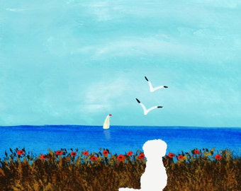 Maltese Dog Bichon Frise Folk Art print by Todd Young painting OCEAN POPPIES