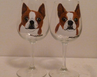 Hand Painted Red Boston Terrier Dog Wine Glasses set of 2