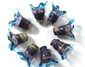 Handmade Lampwork bead glass - Lampwork beads set - Thimble Bell Beads, multicolor, purple, turquoise (8) SRA