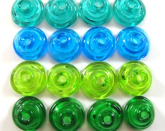 Handmade Lampwork Beads Glass, Lampwork beads set, Cone Shape Bead Caps, green and turquoise (16) SRA