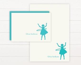 HULA HOOP Personalized Stationery + Notepad Set, Personalized Notepad and Personalized Stationary