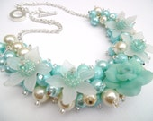 Aqua and Ivory Floral Beaded Necklace with Pearls and Rose Flower Bead, Cluster Necklace, Chunky Necklace, Mint Green, Gift for Her, Choker