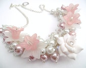 Pink and White Beaded Necklace with Pearls and Flowers, Cluster Necklace, Chunky Necklace, Secret Santa Gift for Her, Statement Necklace
