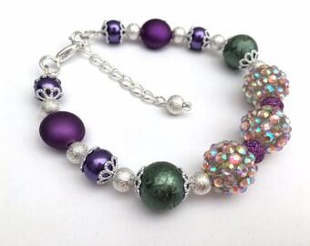 Purple Bracelet, Pearl Bead Bracelet, Single Strand Jewelry, Gift For Her, Purple Bracelet, One of a Kind, Sparkly Jewelry, Purple and Green