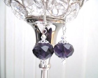 Plum Glass Bead Earrings, Crystal Earrings, Chunky Bead Earrings, Purple Dangle Earrings, Drop Earrings, Fashion Jewelry, Sparkle Gift Idea