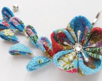 Red Lavender Blue Gold White Sky Blue Cherry Blossom Kimono Chirimen Fabric Flower Hair Clip