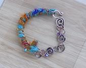 Gypsy Sari Silk Ribbon Oxidized Copper Bracelet Boho Swarovski Bracelet Wire Wrapped Jewelry Handmade Boho Fantasy Cosplay Gypsy Bracelet