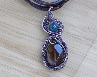 Faceted Smoky Quartz Oval Teal Apatite Oxidized Copper Wire Wrapped Jewelry Handmade Renaissance Medallion Scifi Crystal Healing Amulet