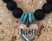 CREATE Black Beaded Stretch Bracelet