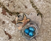 Heart Necklace with Woven Nest and Mother Bird
