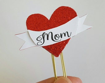 Mom heart Tattoo planner paperclip/Mother's day/paperclip