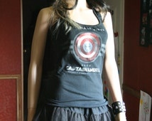 Capitain America tank top halter neck upcycled small medium large xlarge plus size 2xl