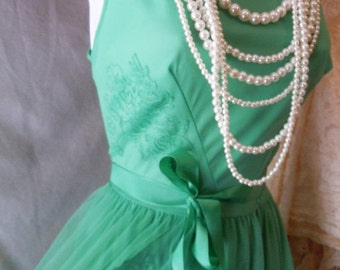 Valentines Sale Green slip dress vintage 60s avacado lounge cocktail  small  from vintage opulence on Etsy