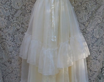 Valentines Sale Boho wedding dress tiered floaty maxi ruffles hippie outdoor vintage  romantic xs small  by vintage opulence on Etsy
