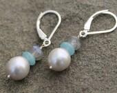 Gray Pearl Labradorite Stone Earrings, Sterling Silver Lever Back Earrings