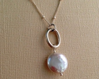 Coin Pearl Necklace, Freshwater Pearl Bridal Necklace, Coin Pearl Pendant, Beach Wedding Jewelry