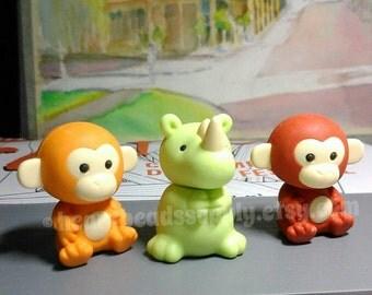 Set of 3 monkey, rhinoceros, Drawing kawaii eraser, cute stationery, id20160725, writing tool, pen pal, back to school, rubber, Japan