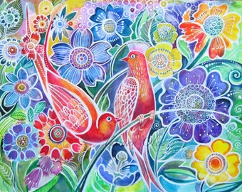 Original watercolor painting by Tatiana Oles / Paradise birds flowers / summer time