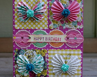 Handcrafted Birthday Card Butterflies