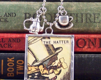 Mad Hatter Alice in Wonderland Necklace - Mad Hatter Necklace - Tea Charm Necklace - Lewis Carroll - Literary Necklace - Book Charms