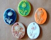 5 Handmade Ceramic Dandelion Beads
