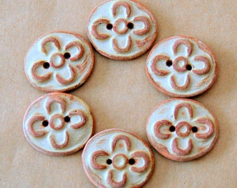 6 Handmade Ceramic  Buttons - Rust Flower Stoneware Buttons - Rustic Folk Art Focal Buttons - Knitting Supplies