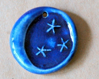 1 Handmade Ceramic Bead - Bleautiful Blue Moon Bead