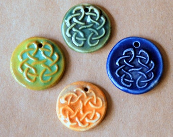 4 Handmade Ceramic Pendant Beads -  Celtic Knot Pendants - Handmade Supplies for Renaissance Fairs - Stoneware Pendants -