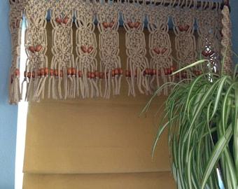 Wood Beaded  Window Decor Curtain Valance Made in Macrame